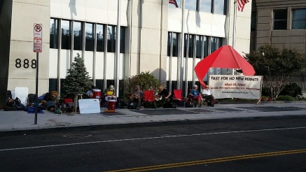 Fasters in front of FERC headquarters, Day 2.