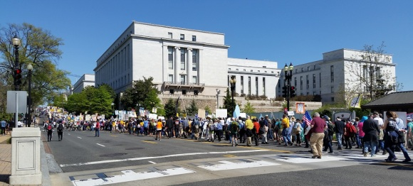 Marching up Independence Avenue after the rally, by the Supreme Court to Union Station.