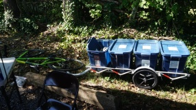 Soil Cycles hauls organic waste by bike trailer.